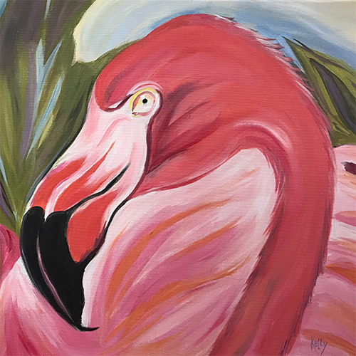 12-13-17 at the Visual Arts Center - Paint a pink flamingo with Kathleen Kelly