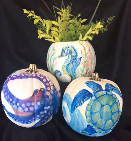 Festive Florida Pumpkins painted and carved - Join the Chamber Oct 25th for Create and Paint Social